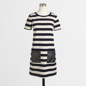 J Crew stripe pocket dress XS black white pleather